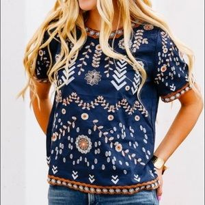 Boho Navy Embroidered Top